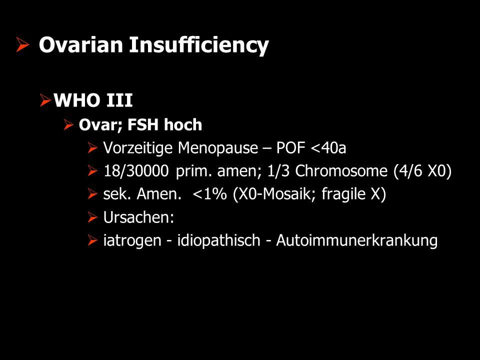  Ovarian Insufficiency  WHO IV  Prolaktin (2 x >20 ng/mL)  30-83% Galaktorrhoe  Prolaktinom  Sekundäre Hyperprolaktinämie  Hypothyreose - TSH  thyreotrope Adenohyperplasie d.