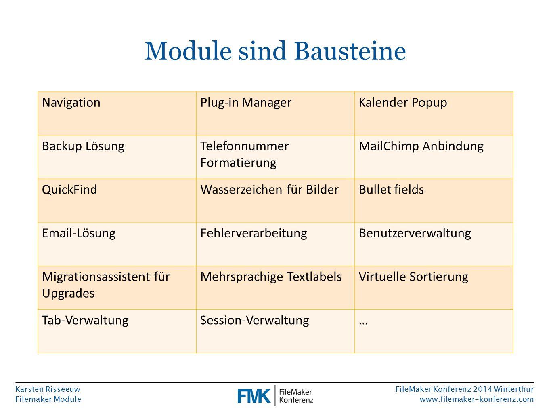 Karsten Risseeuw Filemaker Module FileMaker Konferenz 2014 Winterthur www.filemaker-konferenz.com Module sind Bausteine NavigationPlug-in ManagerKalen