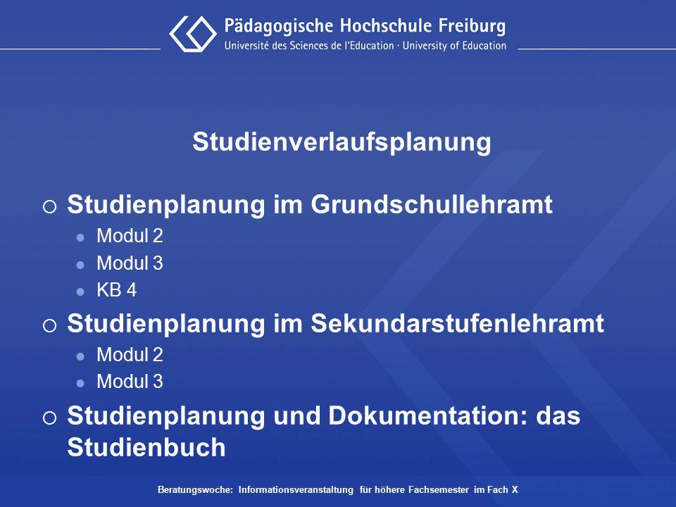 Studienverlaufsplanung  Studienplanung im Grundschullehramt Modul 2 Modul 3 KB 4  Studienplanung im Sekundarstufenlehramt Modul 2 Modul 3  Studienp