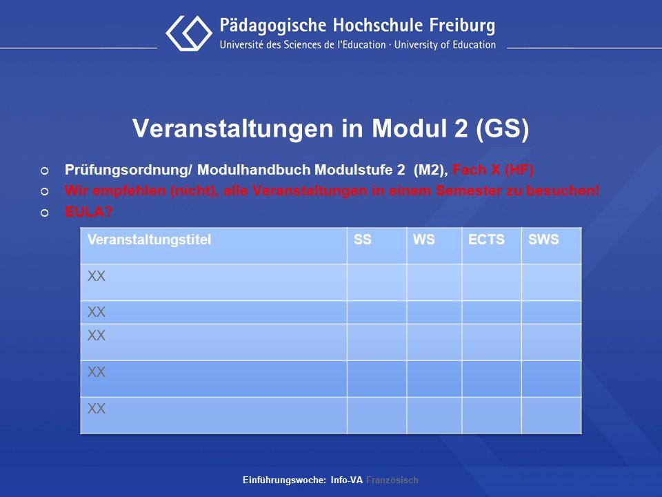 Veranstaltungen in Modul 2 (GS)  Prüfungsordnung/ Modulhandbuch Modulstufe 2 (M2), Fach X (HF)  Wir empfehlen (nicht), alle Veranstaltungen in einem