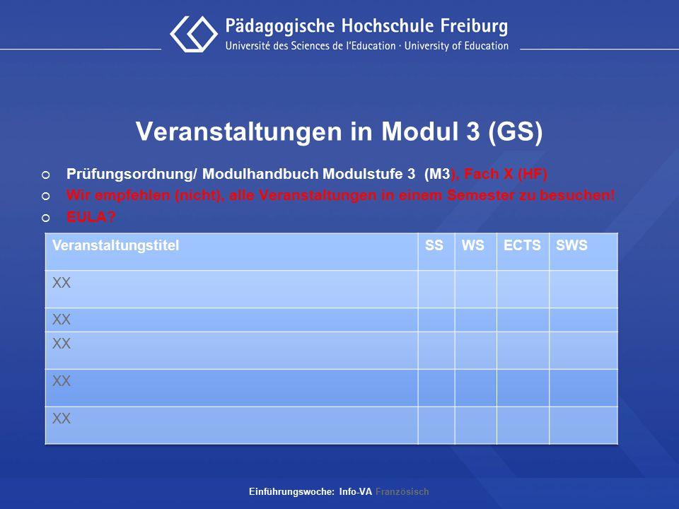 Veranstaltungen in Modul 3 (GS)  Prüfungsordnung/ Modulhandbuch Modulstufe 3 (M3), Fach X (HF)  Wir empfehlen (nicht), alle Veranstaltungen in einem