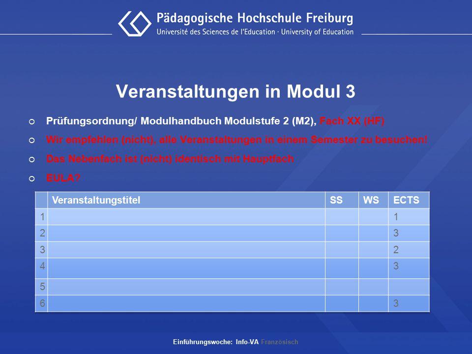 Veranstaltungen in Modul 3  Prüfungsordnung/ Modulhandbuch Modulstufe 2 (M2), Fach XX (HF)  Wir empfehlen (nicht), alle Veranstaltungen in einem Sem