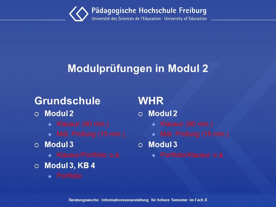 Modulprüfungen in Modul 2 Grundschule  Modul 2 Klausur (90 min.) Mdl. Prüfung (15 min.)  Modul 3 Klausur/Portfolio o.ä.  Modul 3, KB 4 Portfolio Be