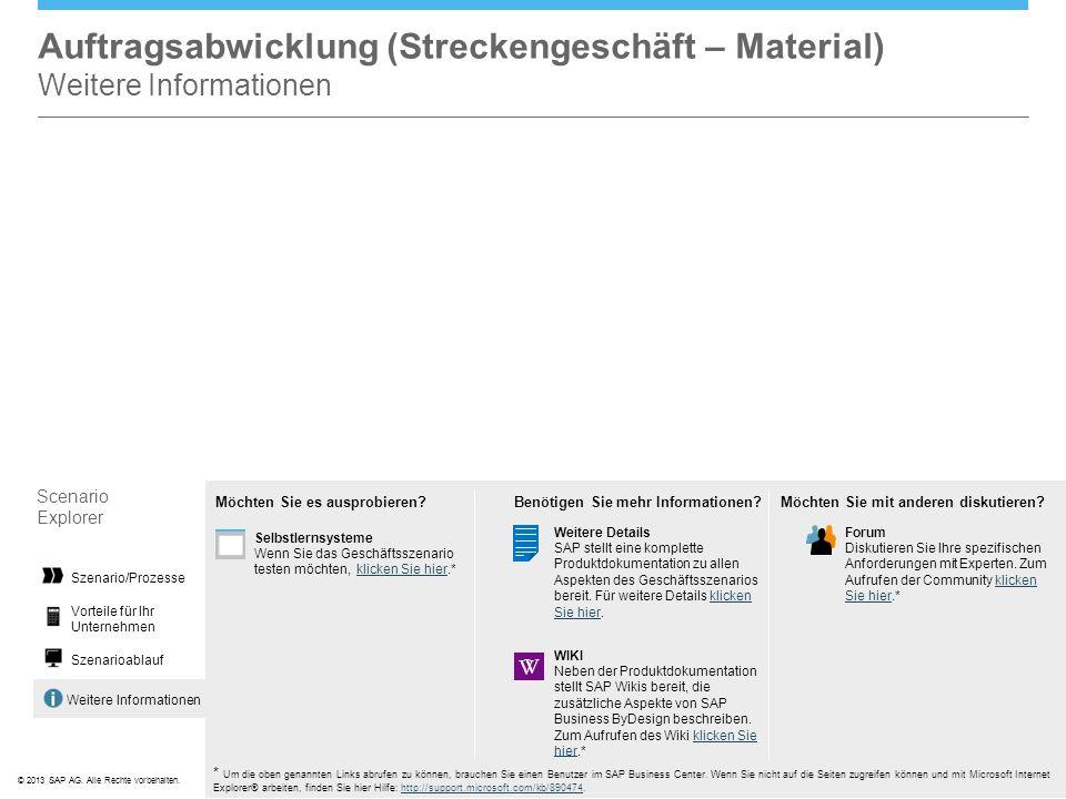 ©© 2013 SAP AG. Alle Rechte vorbehalten. Weitere Informationen Auftragsabwicklung (Streckengeschäft – Material) Weitere Informationen Scenario Explore