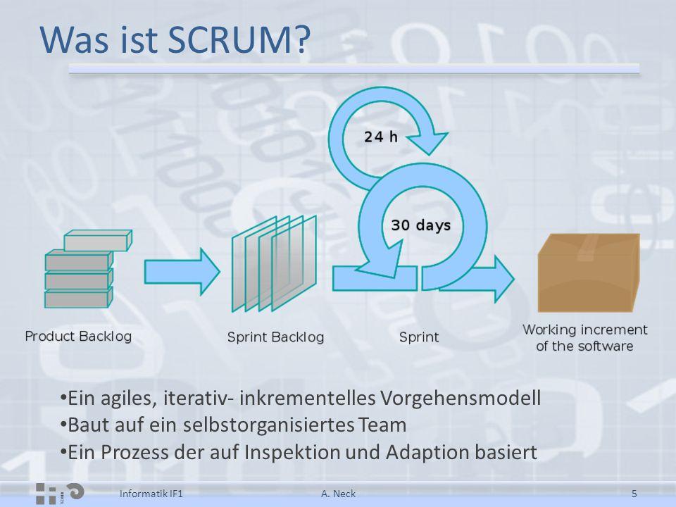 Was ist SCRUM? A. Neck5Informatik IF1 Ein agiles, iterativ- inkrementelles Vorgehensmodell Baut auf ein selbstorganisiertes Team Ein Prozess der auf I