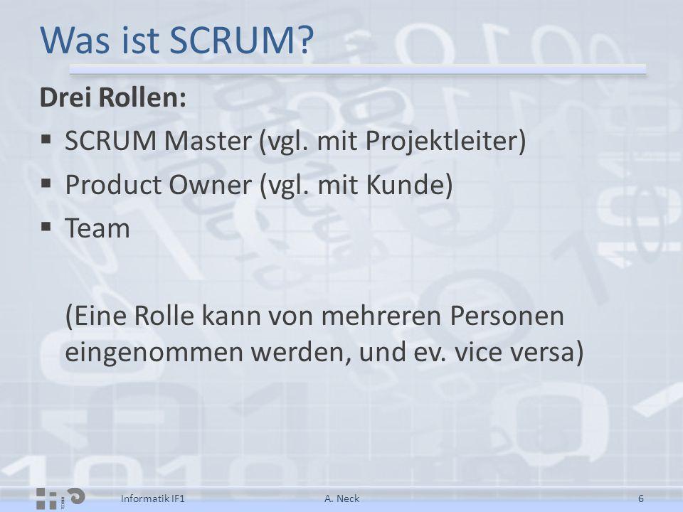 Was ist SCRUM? Drei Rollen:  SCRUM Master (vgl. mit Projektleiter)  Product Owner (vgl. mit Kunde)  Team (Eine Rolle kann von mehreren Personen ein