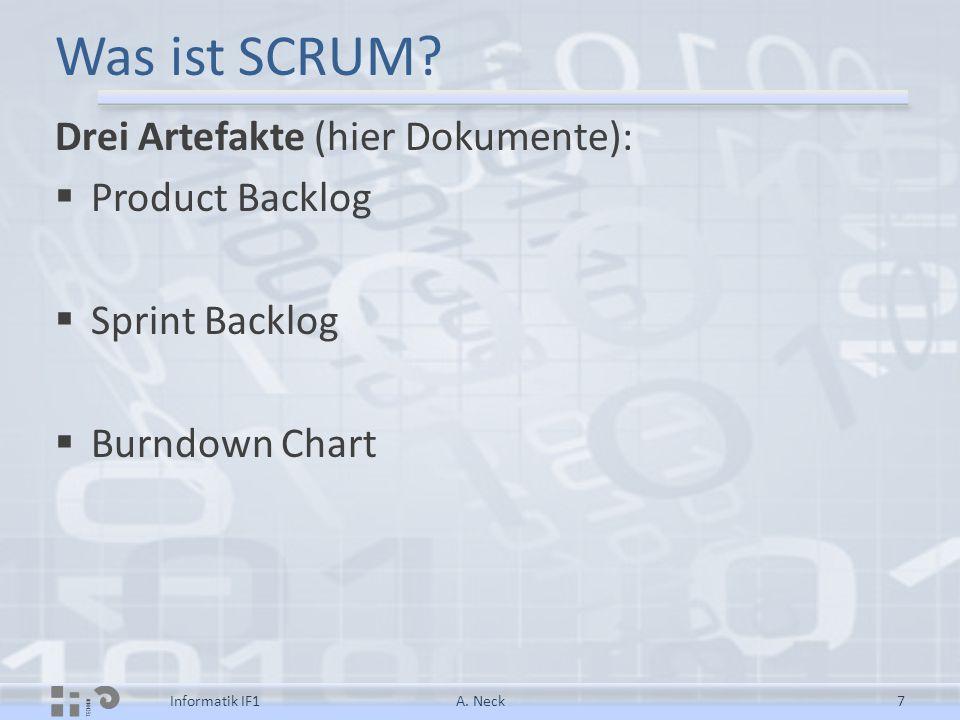 Was ist SCRUM? Drei Artefakte (hier Dokumente):  Product Backlog  Sprint Backlog  Burndown Chart A. Neck7Informatik IF1