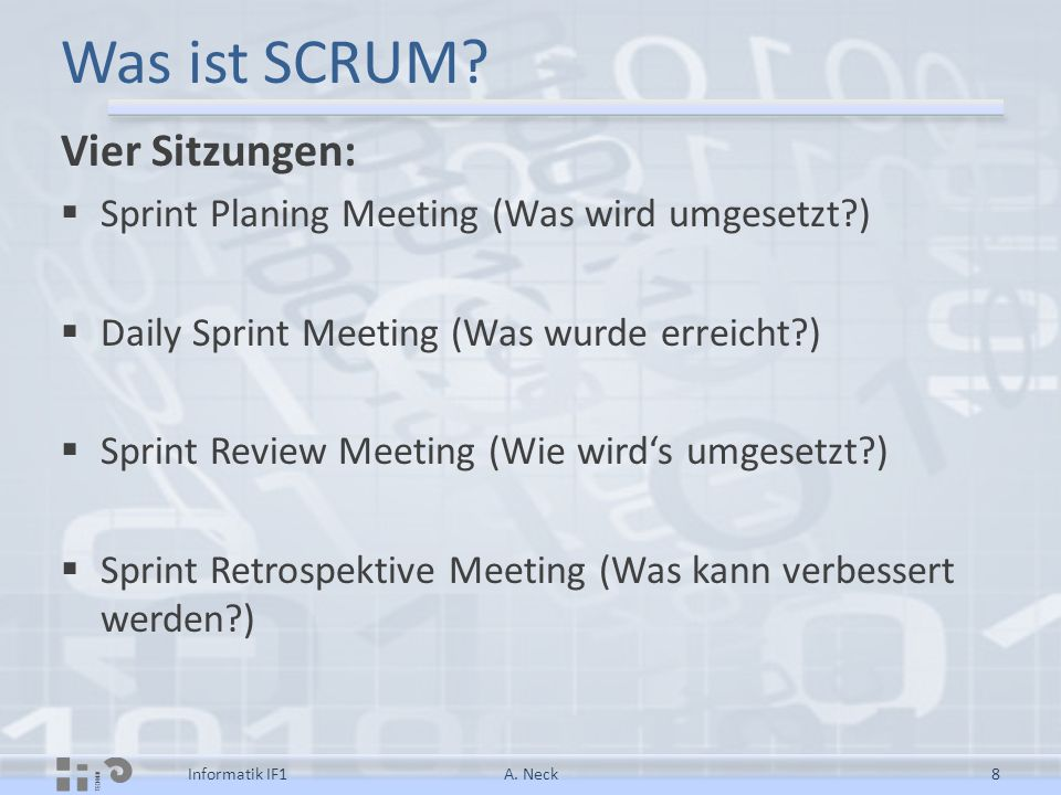 SCRUM links  http://de.wikipedia.org/wiki/Scrum http://de.wikipedia.org/wiki/Scrum  http://www.scrumalliance.org/articles/39- glossary-of-scrum-terms http://www.scrumalliance.org/articles/39- glossary-of-scrum-terms  http://etutorials.org/Microsoft+Products/Agil e+Project+Management+with+Scrum/Appendi x+A+Rules/ http://etutorials.org/Microsoft+Products/Agil e+Project+Management+with+Scrum/Appendi x+A+Rules/ A.