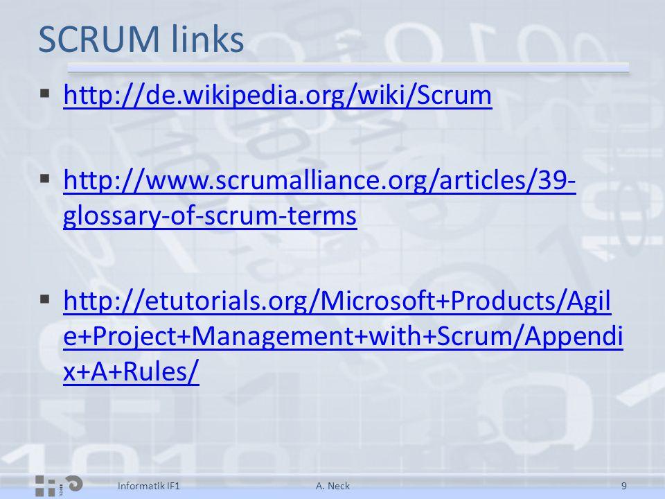 SCRUM links  http://de.wikipedia.org/wiki/Scrum http://de.wikipedia.org/wiki/Scrum  http://www.scrumalliance.org/articles/39- glossary-of-scrum-term