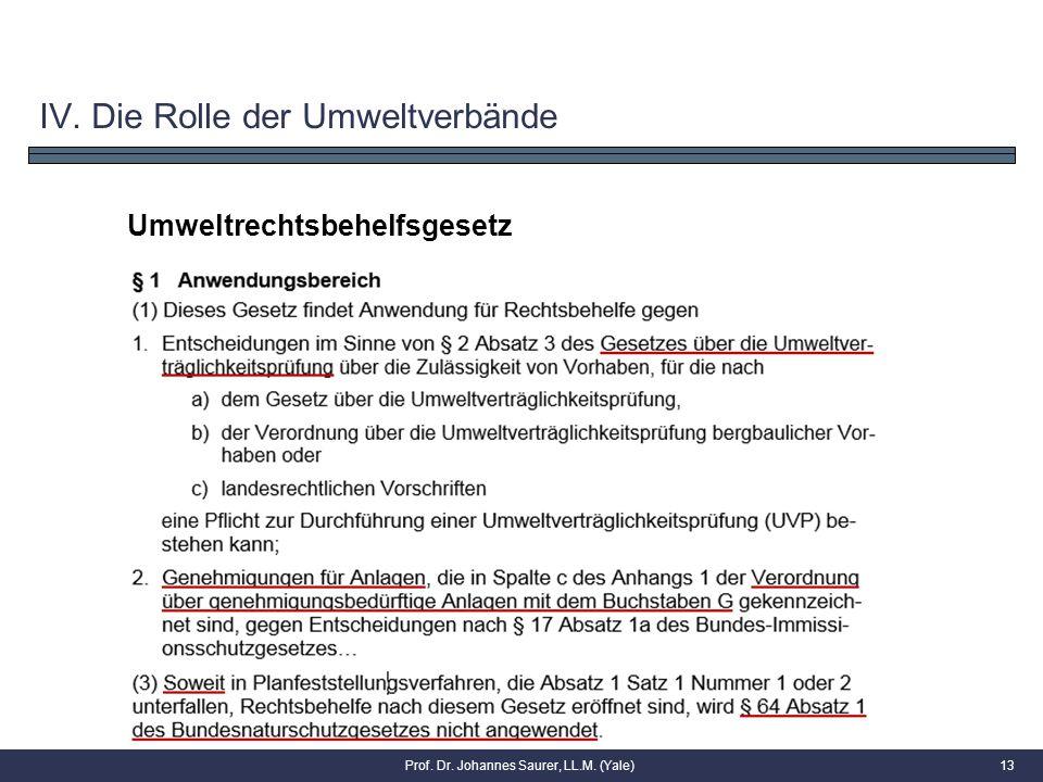 13 Umweltrechtsbehelfsgesetz IV. Die Rolle der Umweltverbände Prof. Dr. Johannes Saurer, LL.M. (Yale)