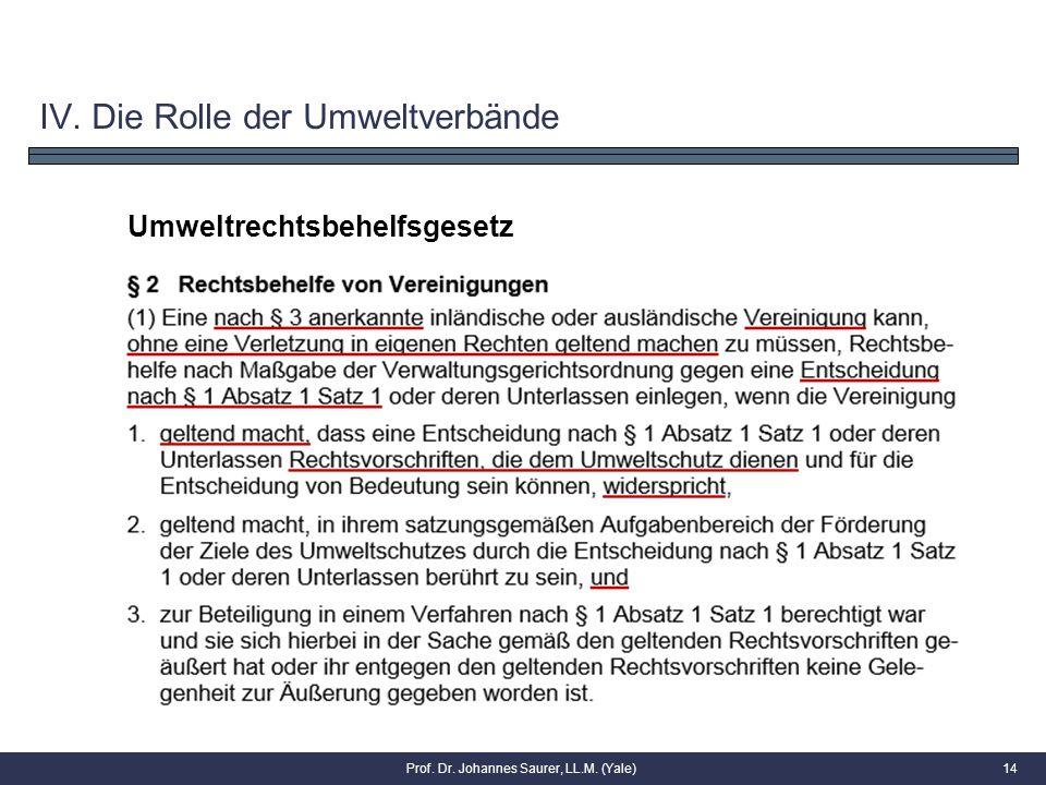 14 Umweltrechtsbehelfsgesetz IV. Die Rolle der Umweltverbände Prof. Dr. Johannes Saurer, LL.M. (Yale)