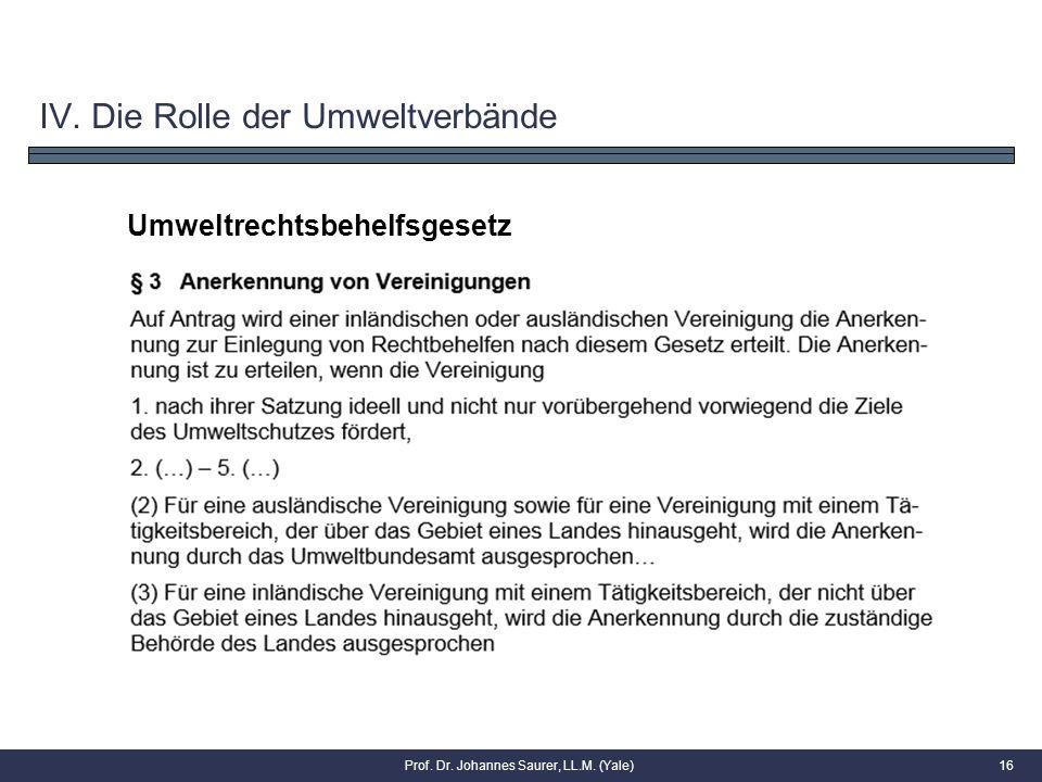 16 Umweltrechtsbehelfsgesetz IV. Die Rolle der Umweltverbände Prof. Dr. Johannes Saurer, LL.M. (Yale)
