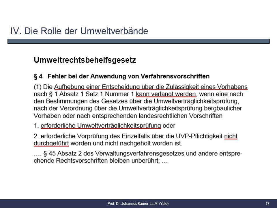 17 Umweltrechtsbehelfsgesetz IV. Die Rolle der Umweltverbände Prof. Dr. Johannes Saurer, LL.M. (Yale)