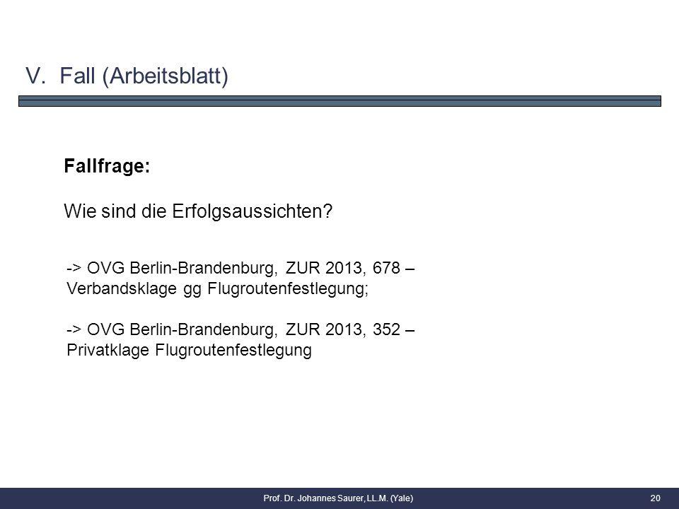 Fallfrage: Wie sind die Erfolgsaussichten? 20Prof. Dr. Johannes Saurer, LL.M. (Yale) V. Fall (Arbeitsblatt) -> OVG Berlin-Brandenburg, ZUR 2013, 678 –