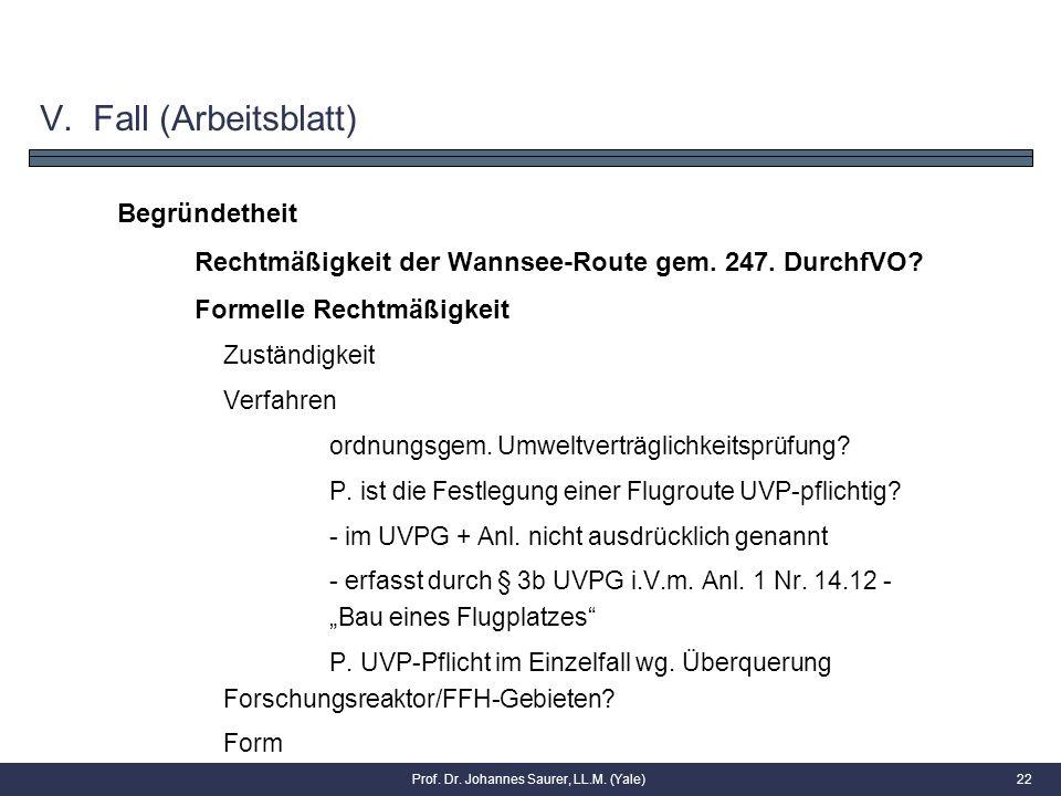 Begründetheit Rechtmäßigkeit der Wannsee-Route gem. 247. DurchfVO? Formelle Rechtmäßigkeit Zuständigkeit Verfahren ordnungsgem. Umweltverträglichkeits