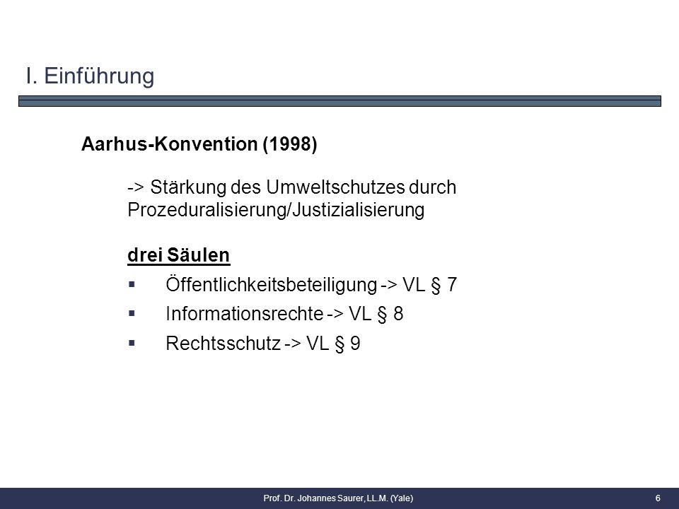 I. Einführung Aarhus-Konvention (1998) -> Stärkung des Umweltschutzes durch Prozeduralisierung/Justizialisierung drei Säulen  Öffentlichkeitsbeteilig
