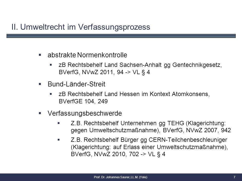II. Umweltrecht im Verfassungsprozess  abstrakte Normenkontrolle  zB Rechtsbehelf Land Sachsen-Anhalt gg Gentechnikgesetz, BVerfG, NVwZ 2011, 94 ->