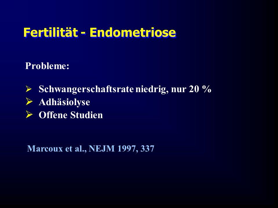 Marcoux et al., NEJM 1997, 337 Probleme:  Schwangerschaftsrate niedrig, nur 20 %  Adhäsiolyse  Offene Studien Fertilität - Endometriose