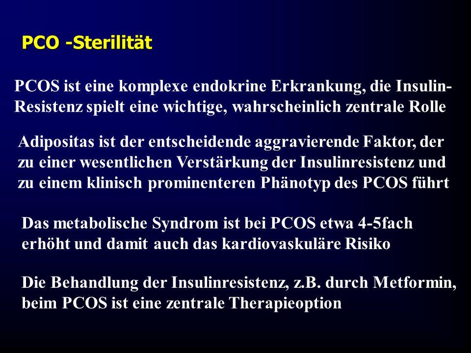 PCOS ist eine komplexe endokrine Erkrankung, die Insulin- Resistenz spielt eine wichtige, wahrscheinlich zentrale Rolle Adipositas ist der entscheiden