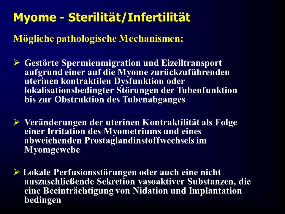 Mögliche pathologische Mechanismen:  Gestörte Spermienmigration und Eizelltransport aufgrund einer auf die Myome zurückzuführenden uterinen kontraktilen Dysfunktion oder lokalisationsbedingter Störungen der Tubenfunktion bis zur Obstruktion des Tubenabganges  Veränderungen der uterinen Kontraktilität als Folge einer Irritation des Myometriums und eines abweichenden Prostaglandinstoffwechsels im Myomgewebe  Lokale Perfusionsstörungen oder auch eine nicht auszuschließende Sekretion vasoaktiver Substanzen, die eine Beeinträchtigung von Nidation und Implantation bedingen Myome - Sterilität/Infertilität