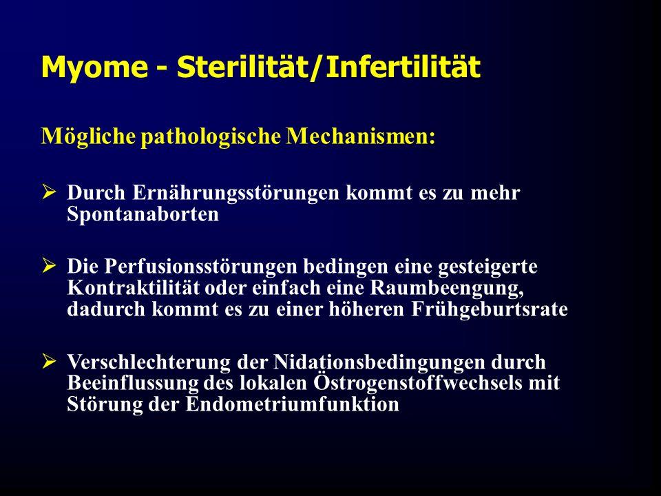 Mögliche pathologische Mechanismen:  Durch Ernährungsstörungen kommt es zu mehr Spontanaborten  Die Perfusionsstörungen bedingen eine gesteigerte Kontraktilität oder einfach eine Raumbeengung, dadurch kommt es zu einer höheren Frühgeburtsrate  Verschlechterung der Nidationsbedingungen durch Beeinflussung des lokalen Östrogenstoffwechsels mit Störung der Endometriumfunktion Myome - Sterilität/Infertilität
