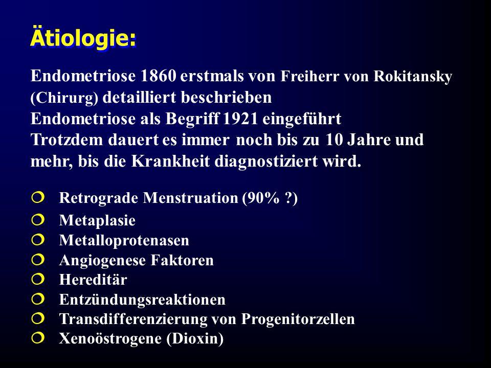 Endometriose 1860 erstmals von Freiherr von Rokitansky (Chirurg) detailliert beschrieben Endometriose als Begriff 1921 eingeführt Trotzdem dauert es immer noch bis zu 10 Jahre und mehr, bis die Krankheit diagnostiziert wird.