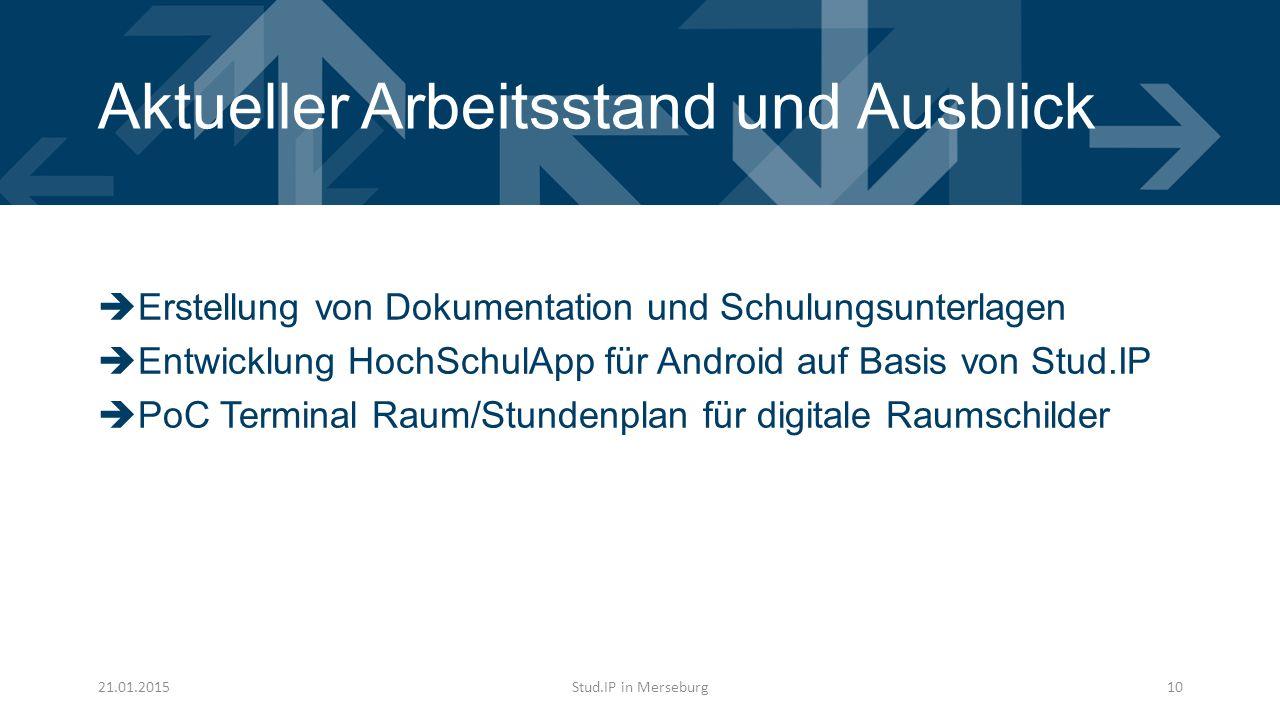 Aktueller Arbeitsstand und Ausblick  Erstellung von Dokumentation und Schulungsunterlagen  Entwicklung HochSchulApp für Android auf Basis von Stud.IP  PoC Terminal Raum/Stundenplan für digitale Raumschilder 21.01.2015Stud.IP in Merseburg10
