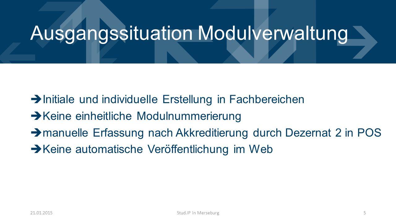 Ausgangssituation Modulverwaltung  Initiale und individuelle Erstellung in Fachbereichen  Keine einheitliche Modulnummerierung  manuelle Erfassung nach Akkreditierung durch Dezernat 2 in POS  Keine automatische Veröffentlichung im Web 21.01.2015Stud.IP in Merseburg5