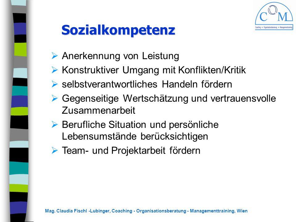 Mag. Claudia Fischl -Lubinger, Coaching - Organisationsberatung - Managementtraining, Wien Sozialkompetenz Sozialkompetenz  Anerkennung von Leistung