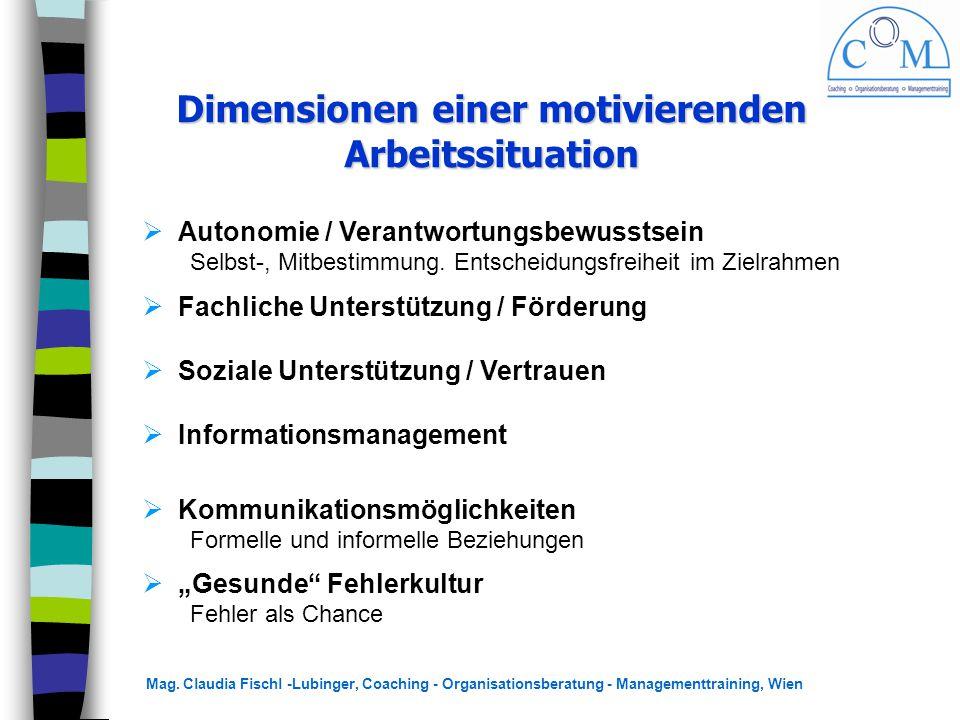 Mag. Claudia Fischl -Lubinger, Coaching - Organisationsberatung - Managementtraining, Wien Dimensionen einer motivierenden Arbeitssituation  Autonomi