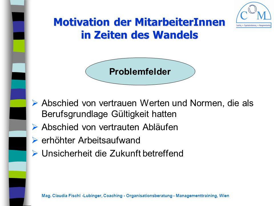 Mag. Claudia Fischl -Lubinger, Coaching - Organisationsberatung - Managementtraining, Wien Motivation der MitarbeiterInnen in Zeiten des Wandels  Abs