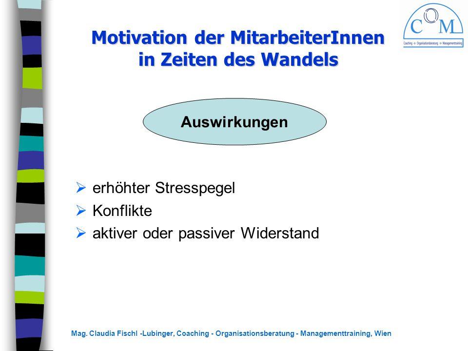Mag. Claudia Fischl -Lubinger, Coaching - Organisationsberatung - Managementtraining, Wien  erhöhter Stresspegel  Konflikte  aktiver oder passiver