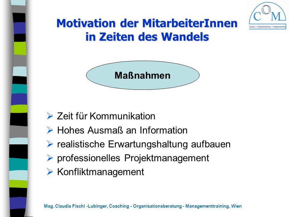 Mag. Claudia Fischl -Lubinger, Coaching - Organisationsberatung - Managementtraining, Wien  Zeit für Kommunikation  Hohes Ausmaß an Information  re