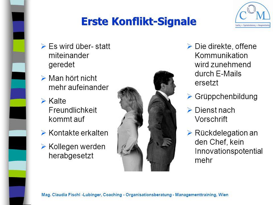 Mag. Claudia Fischl -Lubinger, Coaching - Organisationsberatung - Managementtraining, Wien Erste Konflikt-Signale  Es wird über- statt miteinander ge
