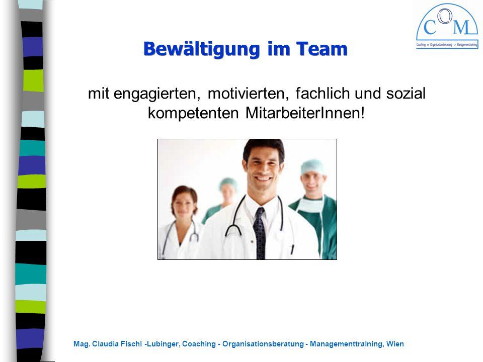 Mag. Claudia Fischl -Lubinger, Coaching - Organisationsberatung - Managementtraining, Wien Bewältigung im Team mit engagierten, motivierten, fachlich