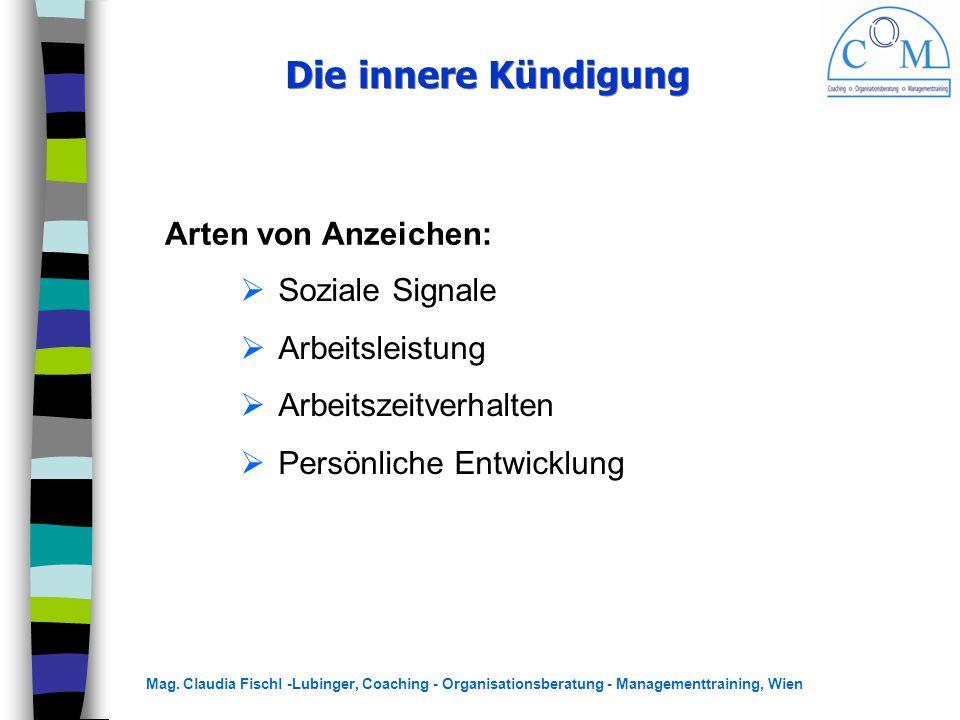 Mag. Claudia Fischl -Lubinger, Coaching - Organisationsberatung - Managementtraining, Wien Die innere Kündigung Arten von Anzeichen:  Soziale Signale