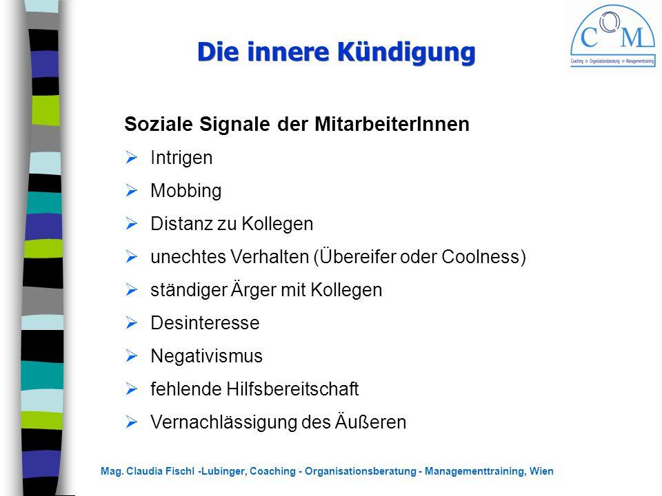 Mag. Claudia Fischl -Lubinger, Coaching - Organisationsberatung - Managementtraining, Wien Die innere Kündigung Soziale Signale der MitarbeiterInnen 