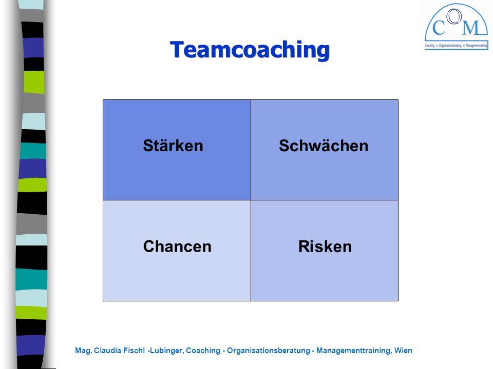 Mag. Claudia Fischl -Lubinger, Coaching - Organisationsberatung - Managementtraining, Wien Teamcoaching Stärken Chancen Schwächen Risken
