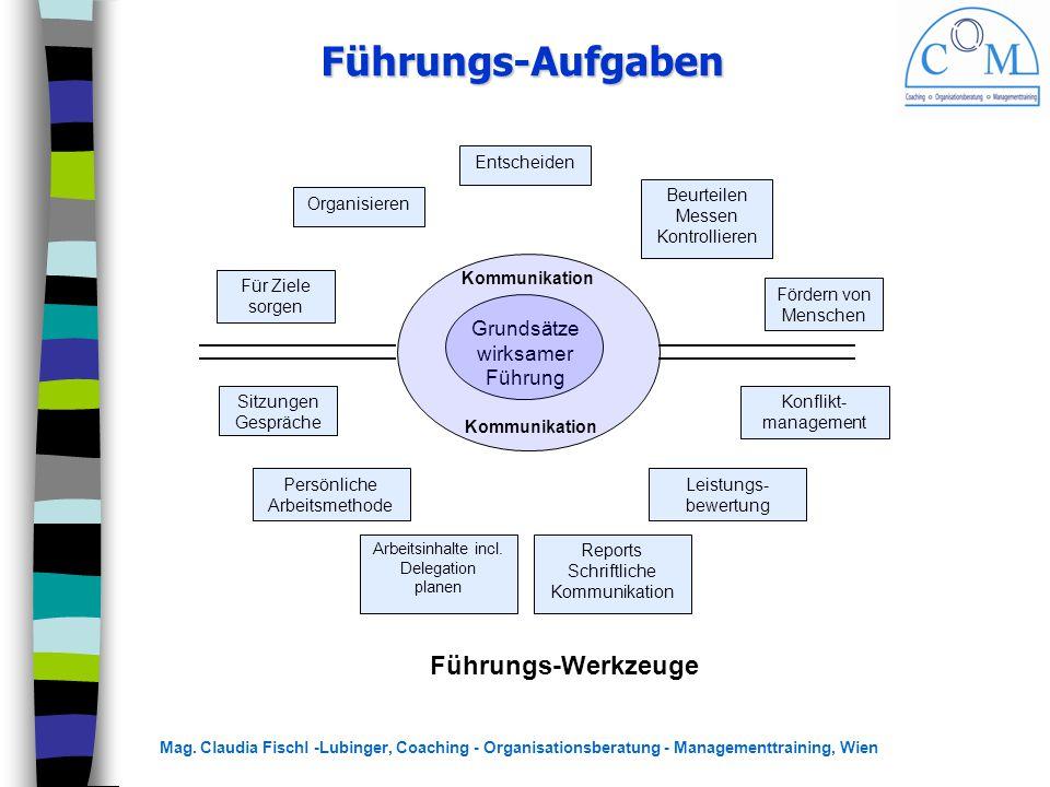 Mag. Claudia Fischl -Lubinger, Coaching - Organisationsberatung - Managementtraining, Wien Entscheiden Beurteilen Messen Kontrollieren Fördern von Men