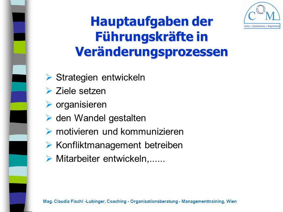 Mag. Claudia Fischl -Lubinger, Coaching - Organisationsberatung - Managementtraining, Wien Hauptaufgaben der Führungskräfte in Veränderungsprozessen 