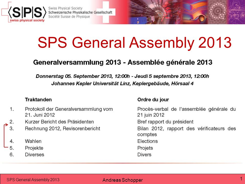 SPS General Assembly 2013 Andreas Schopper 12 5.Projekte in 2014  SPG Tagung 2014 Uni.