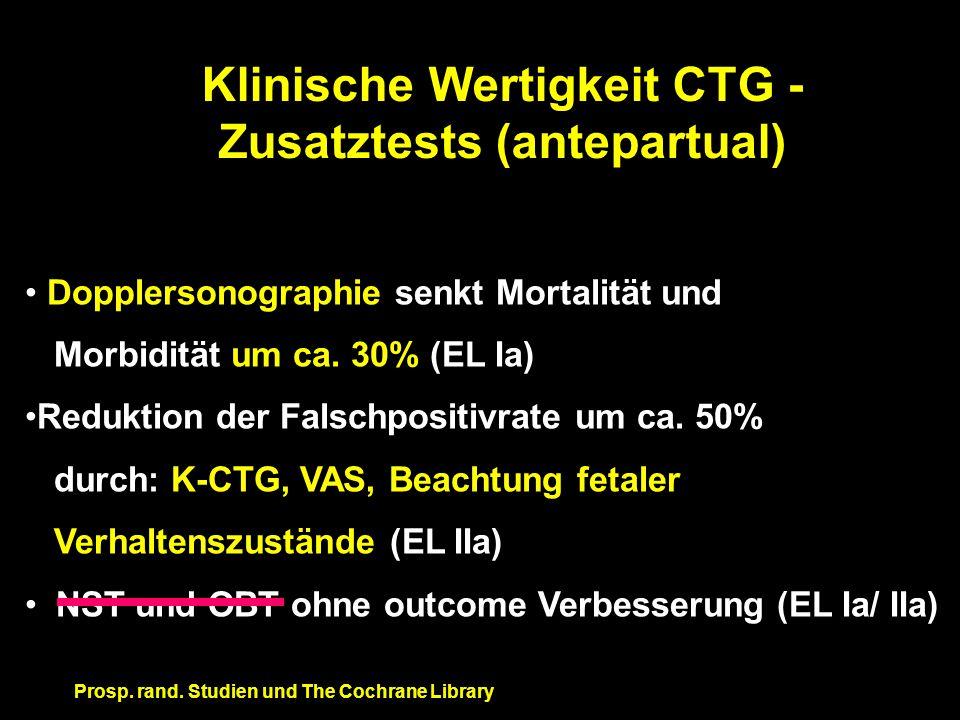 Klinische Wertigkeit CTG - Zusatztests (antepartual) Dopplersonographie senkt Mortalität und Morbidität um ca. 30% (EL Ia) Reduktion der Falschpositiv