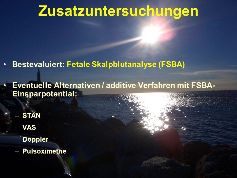 Zusatzuntersuchungen Bestevaluiert: Fetale Skalpblutanalyse (FSBA) Eventuelle Alternativen / additive Verfahren mit FSBA- Einsparpotential: –STAN –VAS