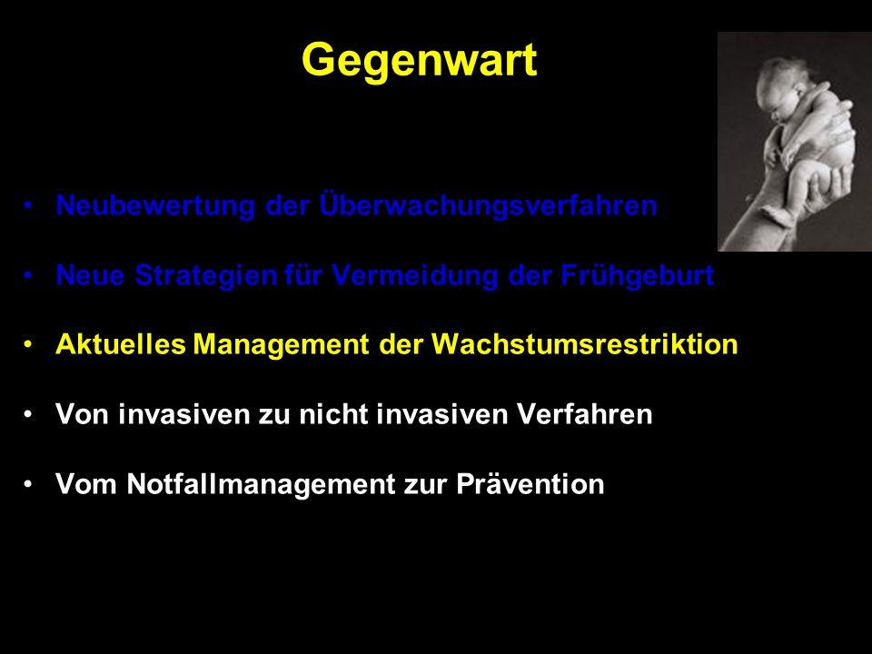 Neubewertung der Überwachungsverfahren Neue Strategien für Vermeidung der Frühgeburt Aktuelles Management der Wachstumsrestriktion Von invasiven zu ni