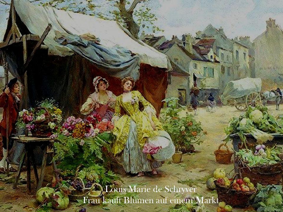 Louis Marie de Schryver Frau kauft Blumen auf einem Markt