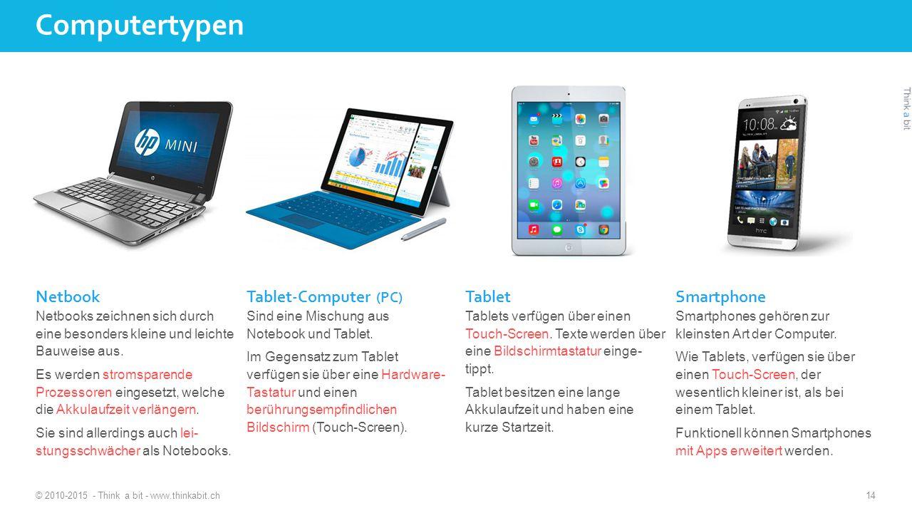 Computertypen © 2010-2015 - Think a bit - www.thinkabit.ch 14 Netbook Netbooks zeichnen sich durch eine besonders kleine und leichte Bauweise aus.