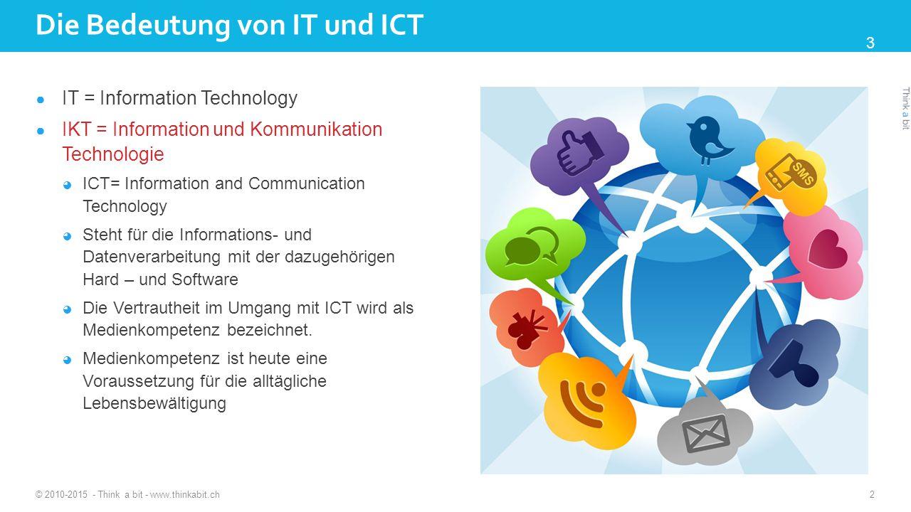 Die Bedeutung von IT und ICT ● IT = Information Technology ● IKT = Information und Kommunikation Technologie ◕ ICT= Information and Communication Technology ◕ Steht für die Informations- und Datenverarbeitung mit der dazugehörigen Hard – und Software ◕ Die Vertrautheit im Umgang mit ICT wird als Medienkompetenz bezeichnet.