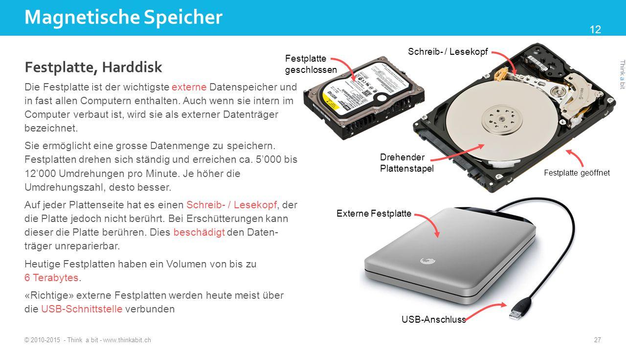 Magnetische Speicher © 2010-2015 - Think a bit - www.thinkabit.ch 27 Festplatte, Harddisk Die Festplatte ist der wichtigste externe Datenspeicher und in fast allen Computern enthalten.