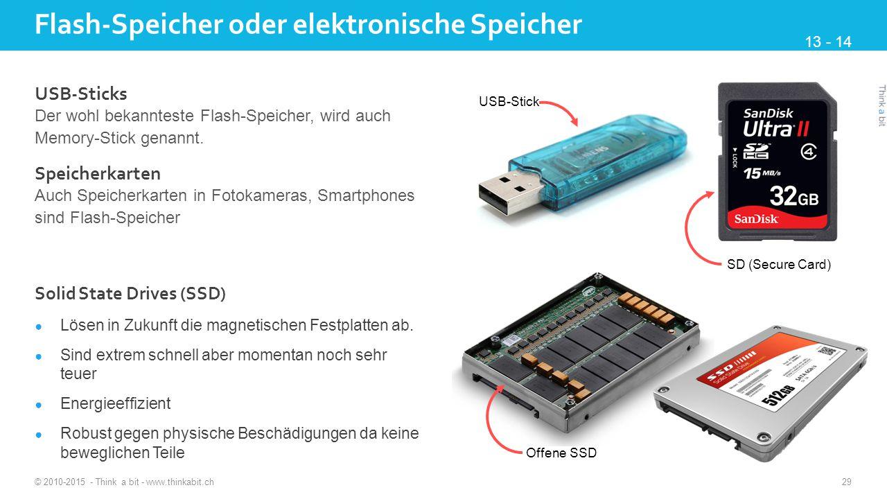 Flash-Speicher oder elektronische Speicher © 2010-2015 - Think a bit - www.thinkabit.ch 29 USB-Sticks Der wohl bekannteste Flash-Speicher, wird auch Memory-Stick genannt.