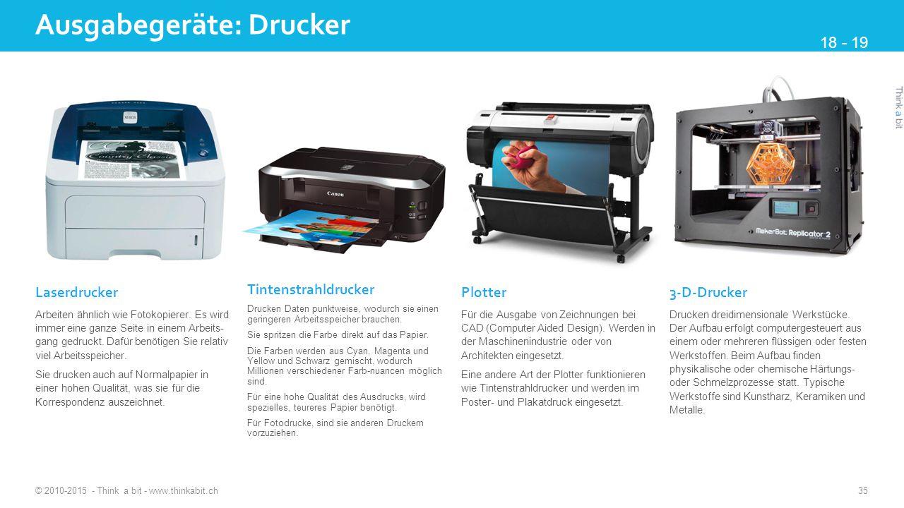 Ausgabegeräte: Drucker © 2010-2015 - Think a bit - www.thinkabit.ch 35 Laserdrucker Arbeiten ähnlich wie Fotokopierer.
